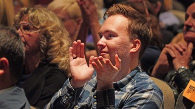 An audience heavily favoring Democrat Ammar Campa-Najjar applauds a remark at Valley Center congressional forum.