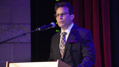 William Del Pilar, president of the Valley Center Business Association, posed questions during the forum's second half.