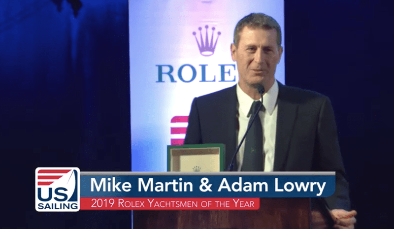 Yachtsmen of the Year award winner at USS Midway awards ceremony.