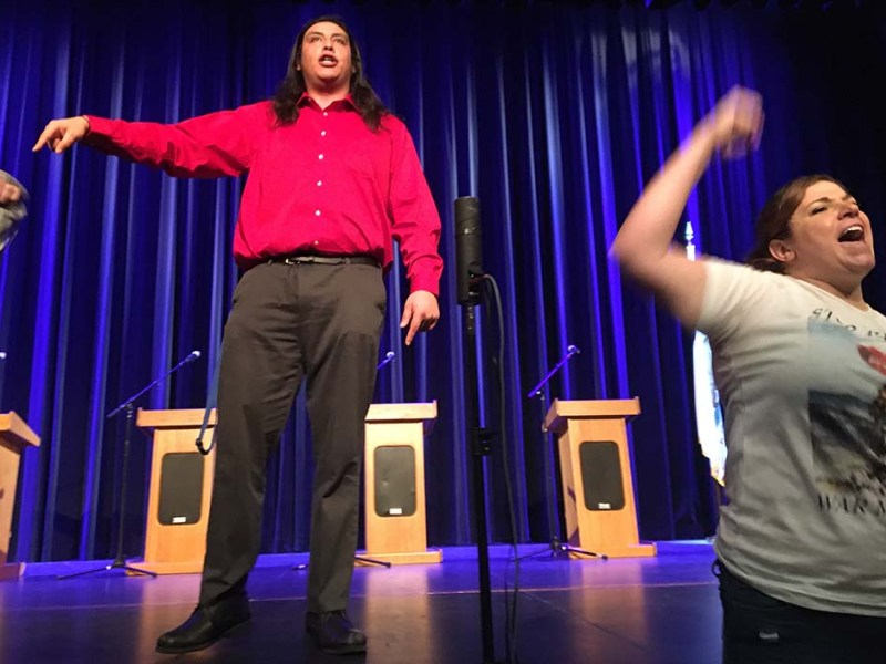 """With supporters chanting """"Let him speak,"""" Peace and Freedom Party candidate José Cortés tells crowd he should be allowed to take part in 50th District debate"""