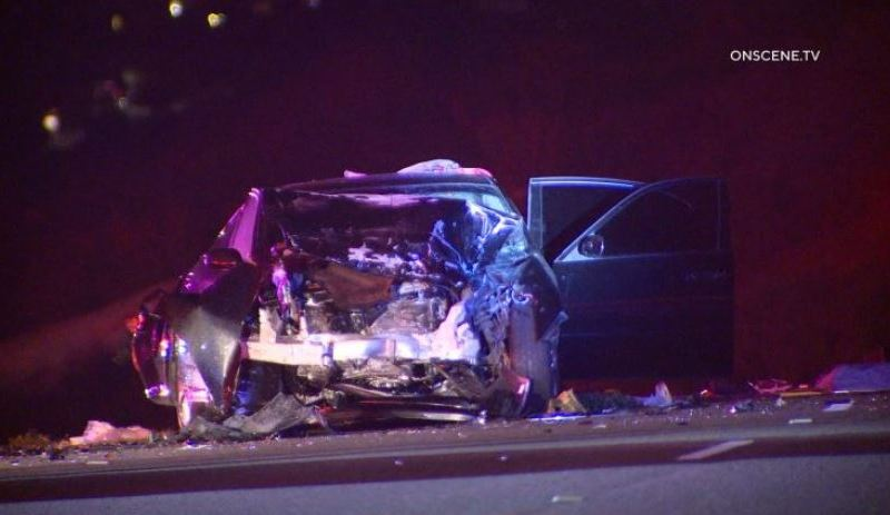 Wreckage of one of the cars