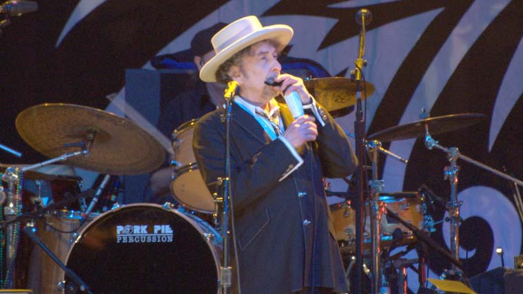 Bob Dylan performing at Finsbury Park, London, June 18, 2011.