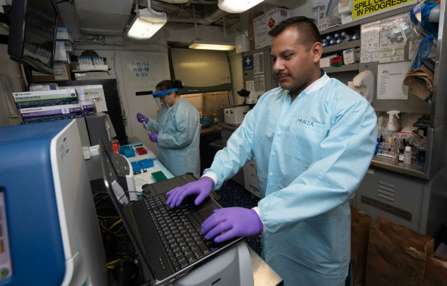 Medical testing aboard the USS Theodore Roosevelt