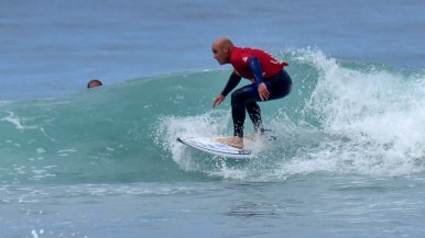 Aitor Francesena, a visually impaired surfer from Spain, captures the win in his category.