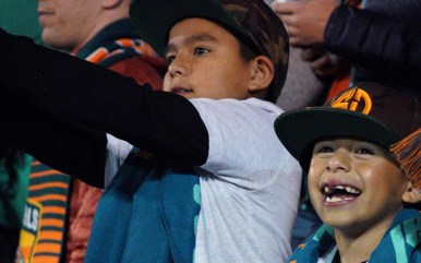 Alexander Moreno, 8, right, enjoys himself during the inaugural match for San Diego Loyal.