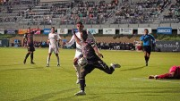Jordan Murrell of the Las Vegas Lights takes control of the ball in the first half.