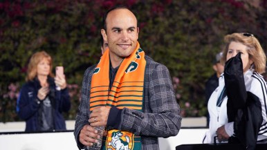 San Diego Loyal Head Coach Landon Donovan enters the pitch at the beginning of the match.