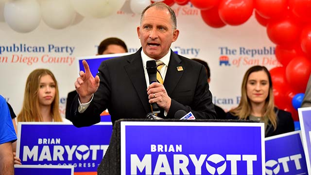 Republican Brian Maryott, speaking at the U.S. Grant Hotel, was trailing Rep. Mike Levin in the 49th District.