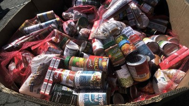 Canned food, spaghetti and peanut butter were included in packages that was equal to 25 meals.