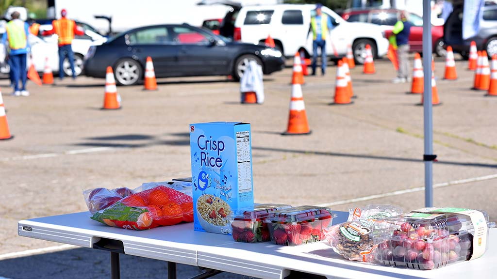 Cereal and fresh food were among the items given to 1,000 cars at SDCCD Stadium Saturday morning.