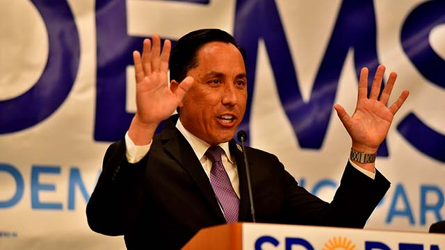 Todd Gloria spoke to Democrats congregated at The Westin.