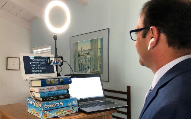Steve Price in his makeshift home studio