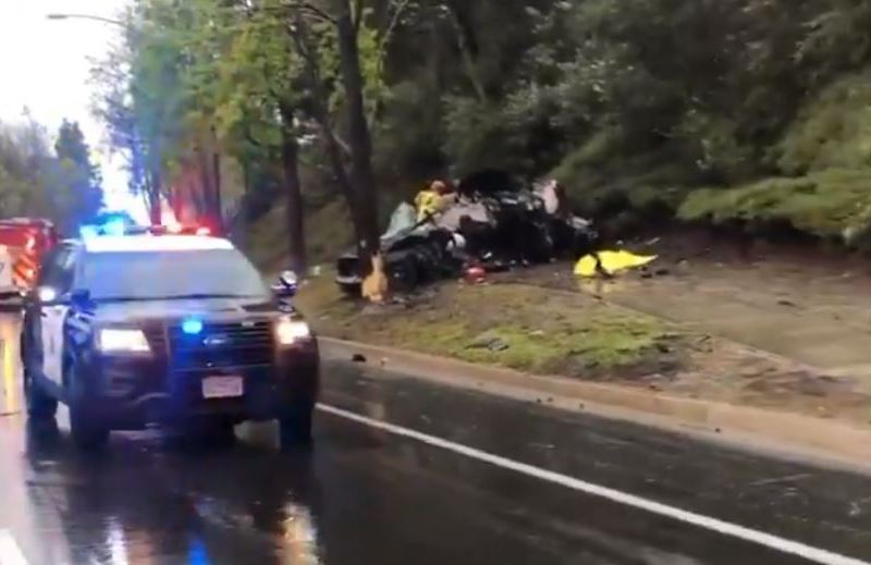 Wreckage in fatal accident in Carmel Valley