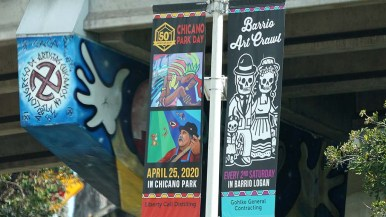 Banners for Chicano Park Day still hang, but the event is postponed due to the coronavirus outbreak.