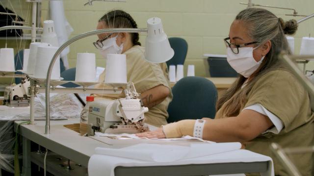 Inmates sew face masks at Las Colinas Detention and Reentry