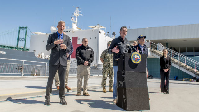 Gavin Newsom welcomes USNS Mercy to Los Angeles