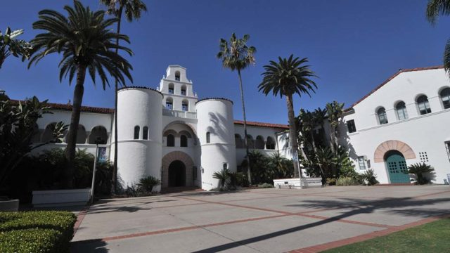 San Diego State University is quiet and nearly deserted while classes are not in session.