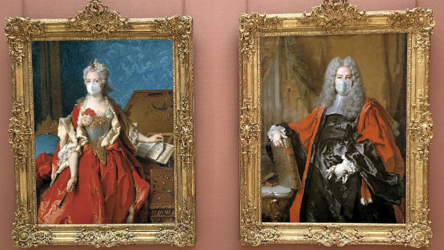 Timken Museum paintings with face masks