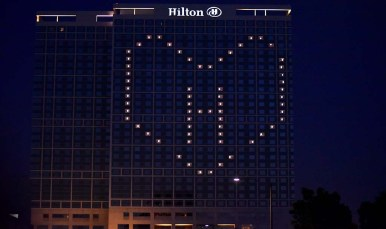 The closed San Diego Hilton Bayfront is among the San Diego hotels displaying their support for workers.