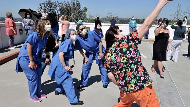 Sharp Grossmont Hospital staff memorialized the day with selfies.