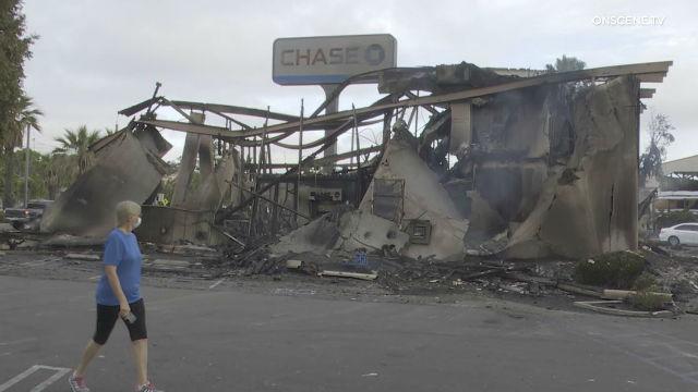 Burned Chase Bank branch