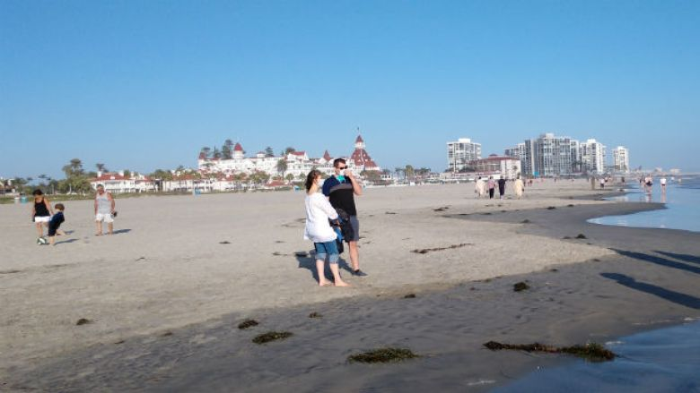 Social distancing on a Coronado beach