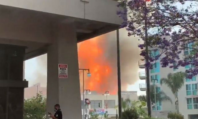Flames from fire in downtown Los Angeles