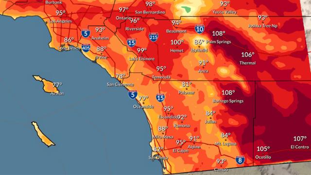 Forecast highs on Wednesday