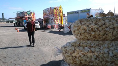 So far three vendors are selling food in the parking lot at the Del Mar Fairgrounds. More vendors may join them in June.