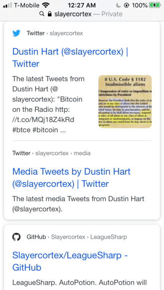 Dustin Hart used a Twitter account called @slayercortex. It no longer exists.