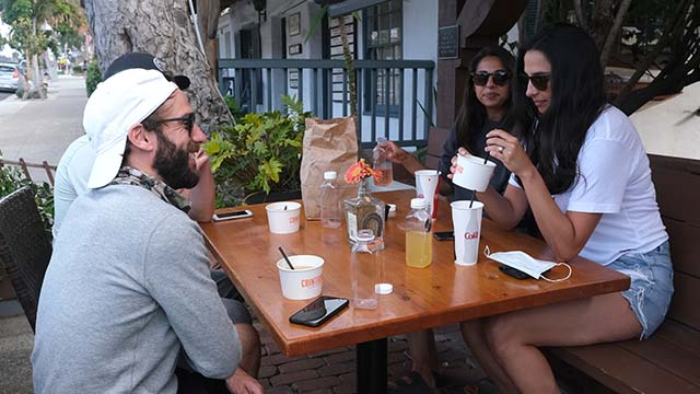 Relatives enjoy patio dining at En Fuego Cantina in Del Mar.