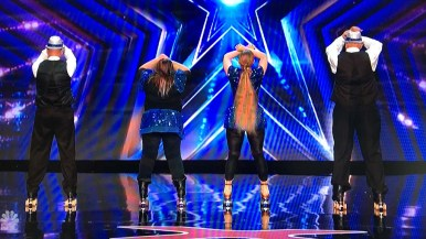 """Skating to """"I will survive,"""" San Diego's Old School Skaters begin a routine that lasted about a minute on """"America's Got Talent."""""""
