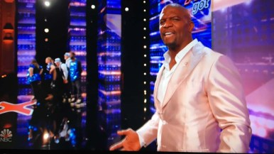 """Host Terry Crews looks surprised by the quick hook given Old School Skaters on """"America's Got Talent."""""""