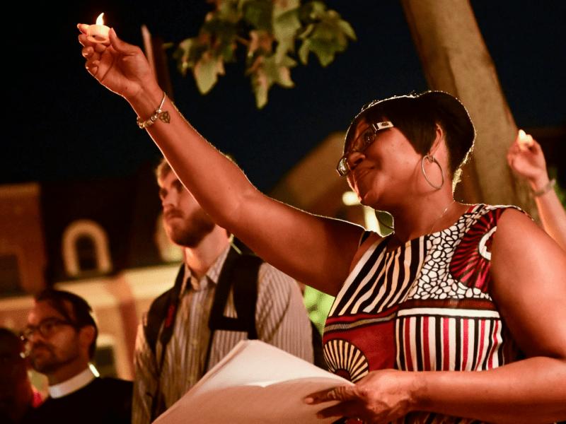 A woman celebrates Juneteenth