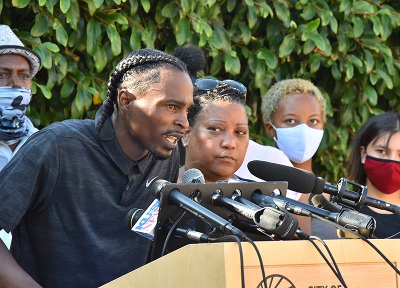 """Amaurie Johnson """"There was no accountability taken today amongst the police officers that were here, the police chief... I also didn't hear any apologies [over] Leslie Furcron."""""""