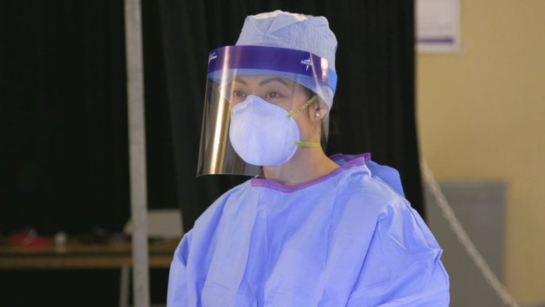 Nurse wearing personal protective equipment