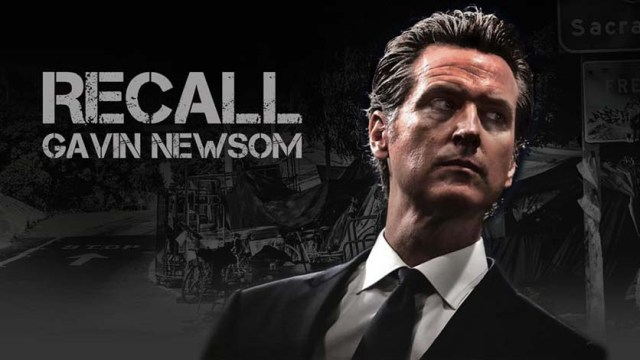Homepage image for latest recall drive against Gov. Gavin Newsom, which has a goal of collecting 2 million signatures by mid-November.