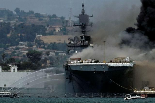 USS Bonhomme Richard burns