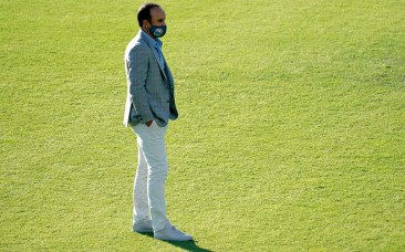 San Diego Loyal head coach Landon Donovan watches his team warm up before the start of he match