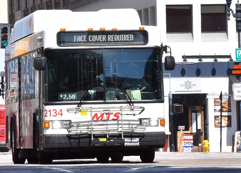 Riders on MTS buses must wear face coverings.