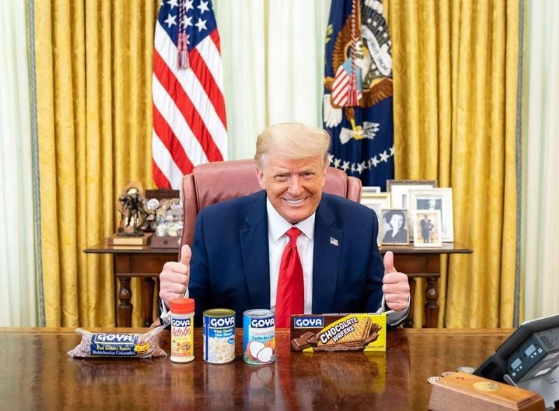 President Trump with Goya products
