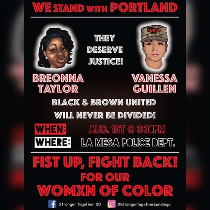 One of several online flyers promoting Aug. 1 protest in La Mesa.
