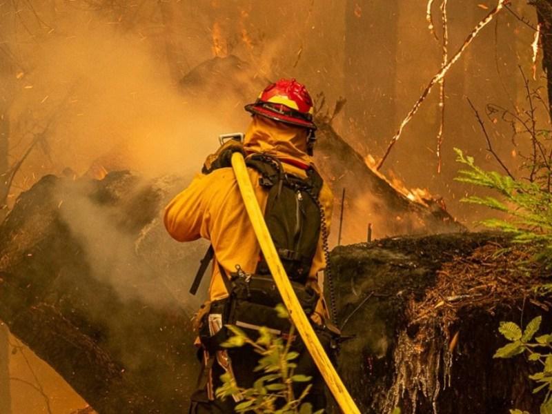 Firefighter battling blaze