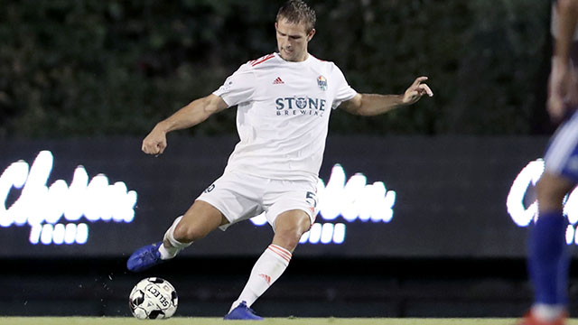 Loyal player Grant Stoneman helped defend throughout the match by clearing the balls near Reno's goal.