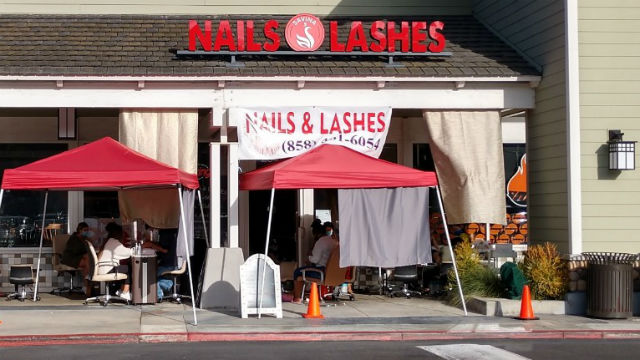 Nail salon operating outside