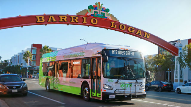 MTS electric bus in Barrio Logan