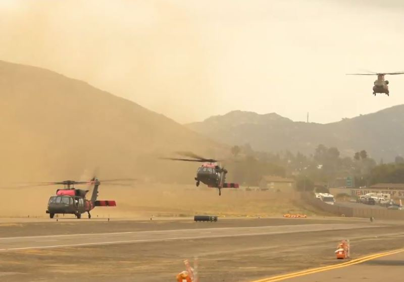 Military firefighting helicopters