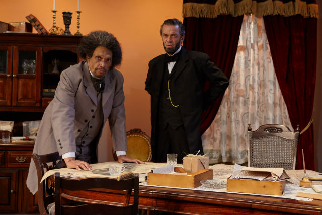 "Hawthorne James as as Frederick Douglass and Ray Chambers as Abraham Lincoln in the West coast premiere of ""Necessary Sacrifices"""