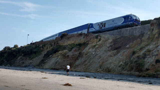 An Amtrak train on the Del Mar bluffs