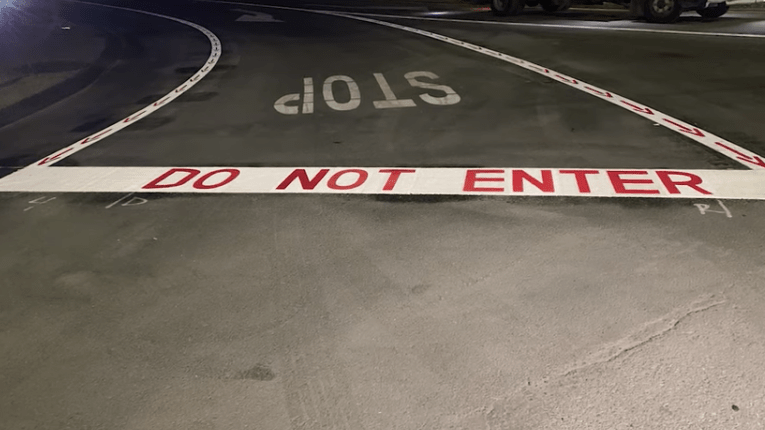 Example of DO NOT ENTER warnings to be painted at San Diego freeway offramps.